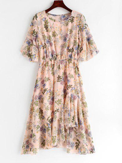 Babados Floral Vestido Assimétrico - Rosa Claro L
