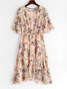 الكشكشة الأزهار غير المتكافئة اللباس - وردي فاتح L