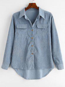 قميص بجيوب كتف عالية - ازرق رمادي L