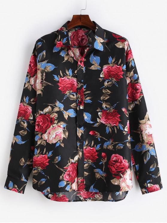 new Flowers Printed Casual Shirt - BLACK L