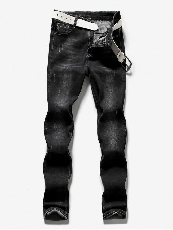 shops Zipper Fly Frayed Hem Design Jeans - BLACK 34