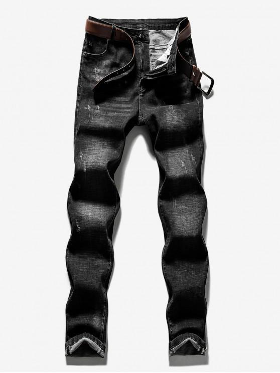 Lässige Jeans mit geradem Bein und Reißverschluss - Schwarz 36
