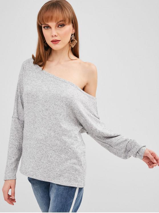 womens ZAFUL Skew Neck Loose Heather Sweater - LIGHT GRAY XL