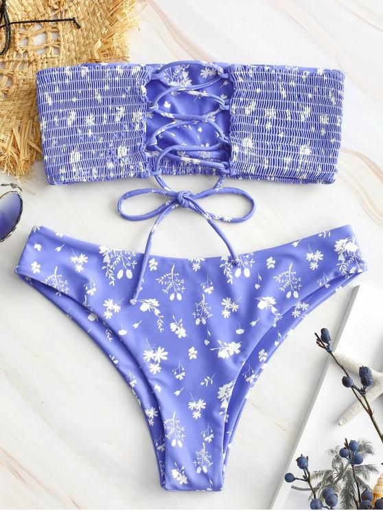 women ZAFUL Floral Print Lace-up Smocked Bikini Set - LIGHT SLATE BLUE S