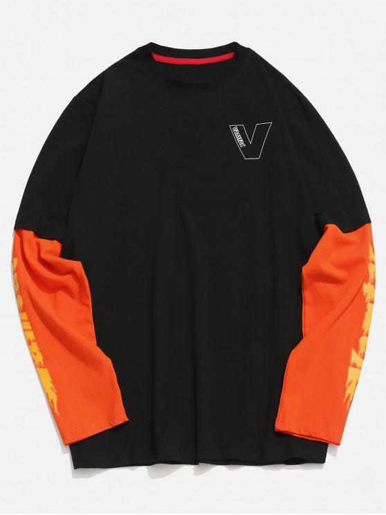 sale Contrast Letter False Two Piece T-shirt - BLACK 2XL