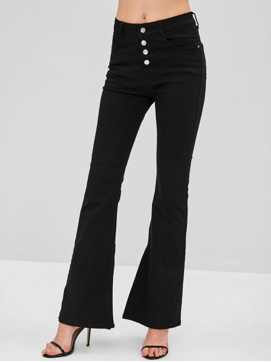 women's Button Fly Slit Boot Cut Jeans - BLACK L