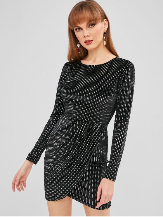 Платье с блестками и открытой спиной - Чёрный L