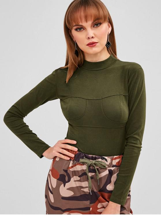 76c1efbb58 43% OFF  2019 Mock Neck Long Sleeve Bodysuit In ARMY GREEN M