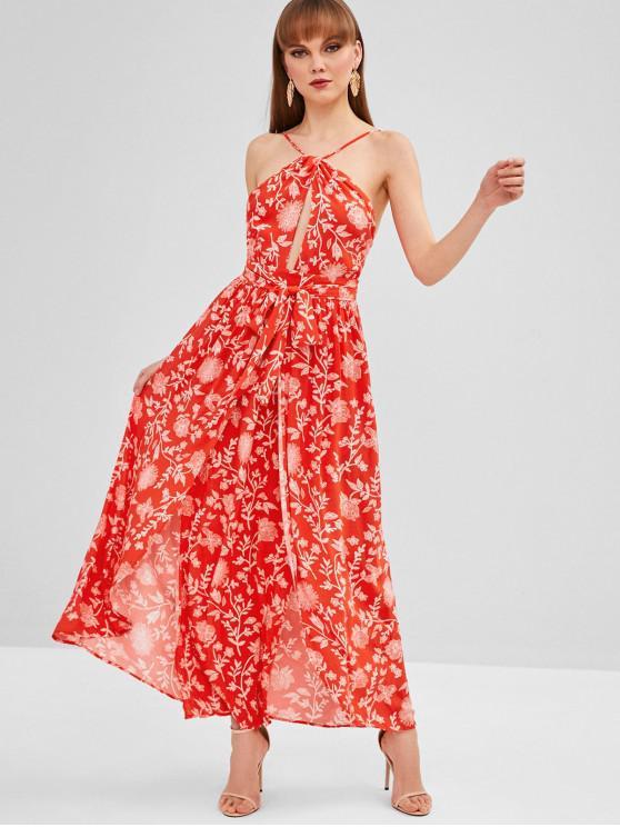 online Cami Backless Belted Dress - RED L