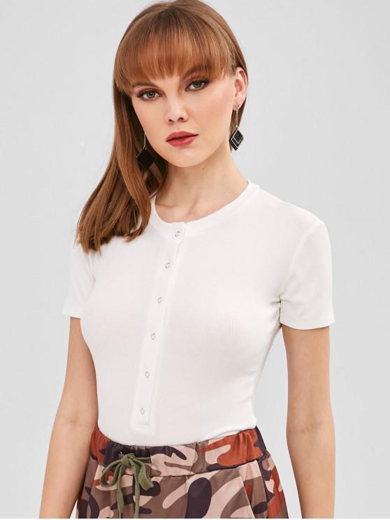 Botão Snap com nervuras Bodysuit - Branco M