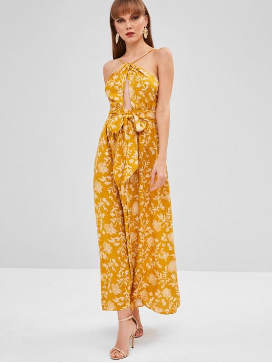 buy Cami Backless Belted Dress - YELLOW S
