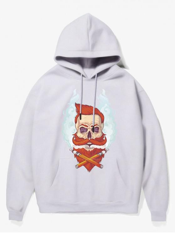 outfits Beard Man Head Print Fleece Hoodie - WHITE XS