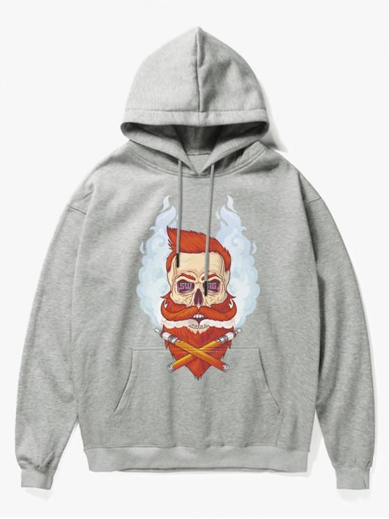 best Beard Man Head Print Fleece Hoodie - GRAY M