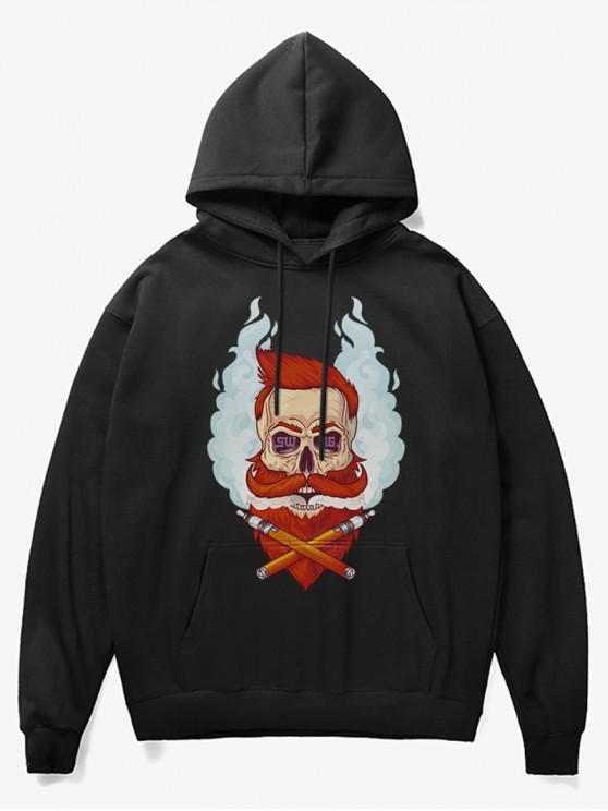 fancy Beard Man Head Print Fleece Hoodie - BLACK XS