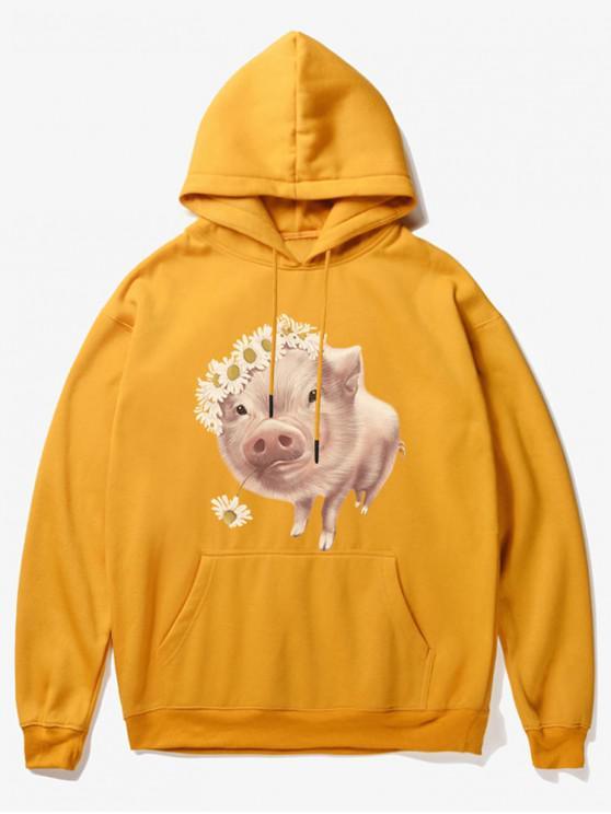 Blumen-Schwein-Druck-Fleece-Hoodie - Gelb S