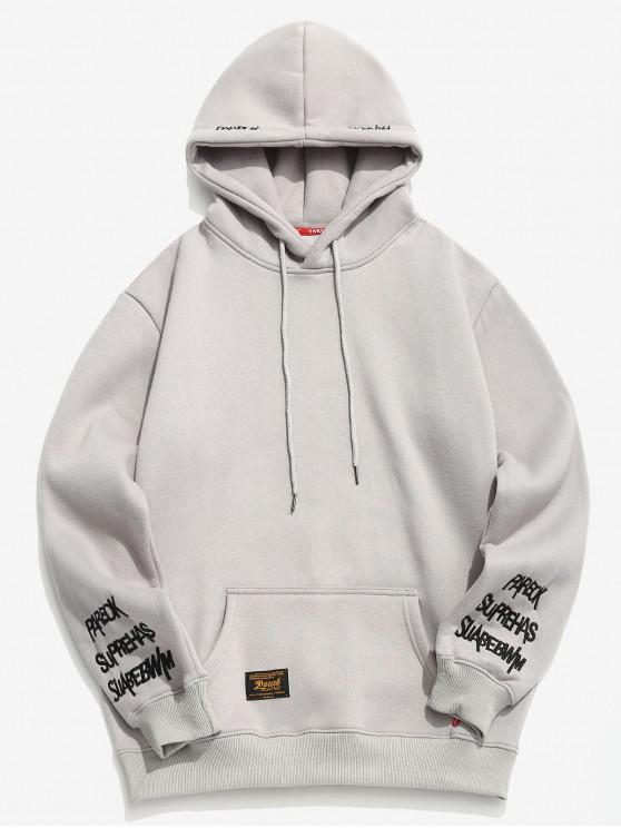 Sudadera con capucha y detalle de bordado con letras - Gris XS