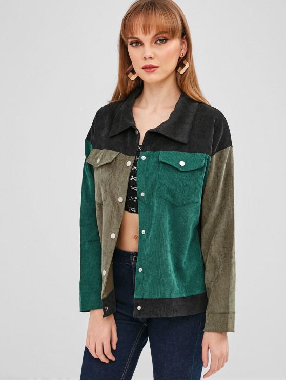 Chaqueta de pana de bolsillo con botones a presión de bloque de color - Ejercito Verde M