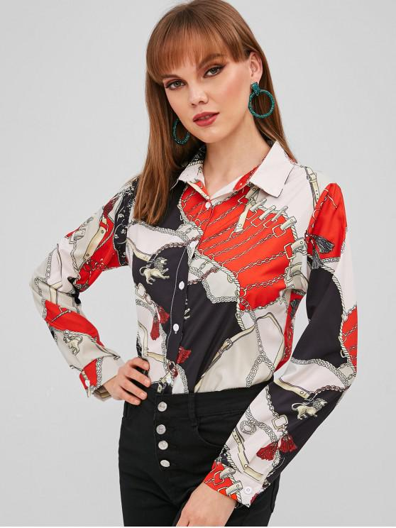 outfits Chain Print High Low Shirt - RED S