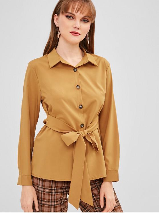 Botón con cinturón hasta camisa - Amarilla de Abeja  L