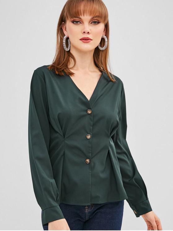 shop V Neck Button Up Shirt - DARK GREEN M