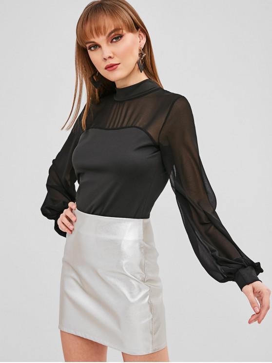 fancy Mesh Insert Lantern Sleeve T-shirt - BLACK M