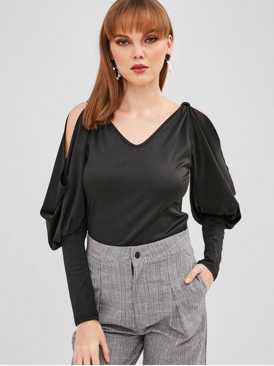 unique V Neck Cold Shoulder Lantern Sleeve T-shirt - BLACK M