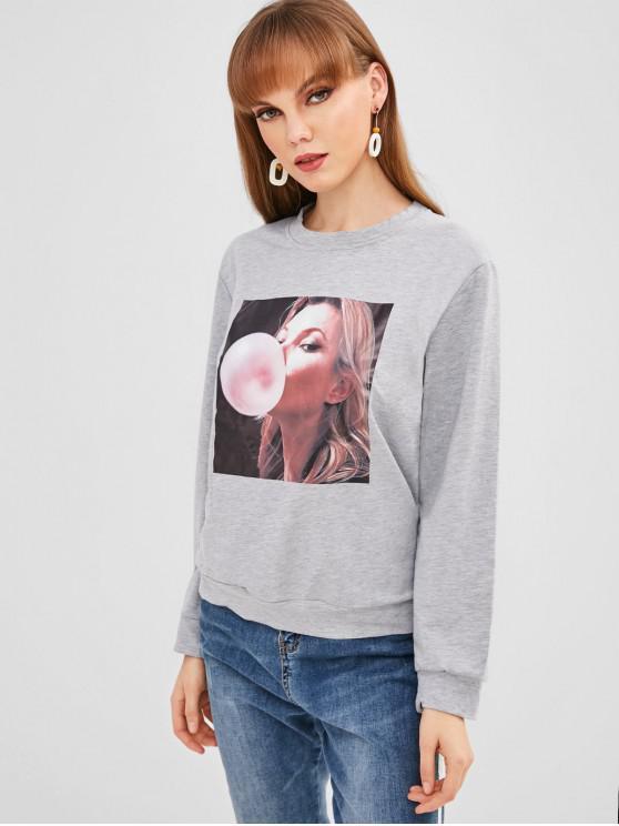 womens Girl Print Sweatshirt - GRAY M