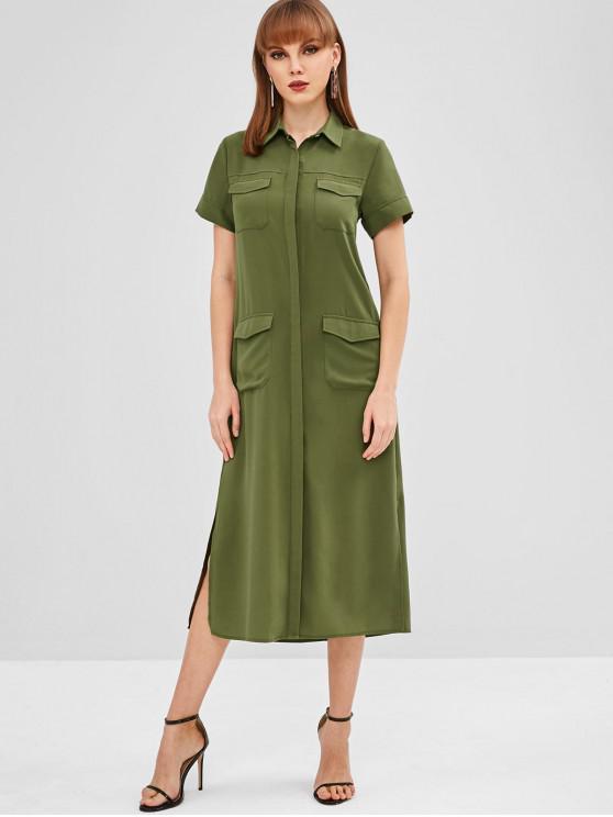 womens Side Slit Front Pockets Shirt Dress - GREEN S