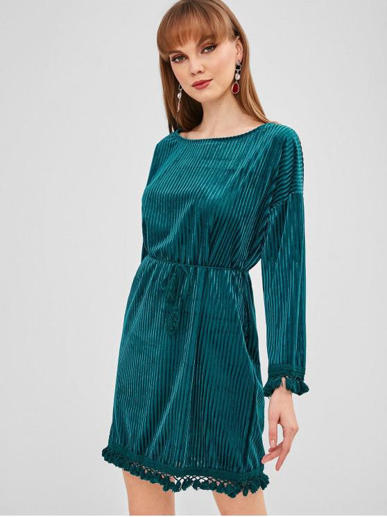 outfit Shadow Stripes Tassels Mini Dress - PEACOCK BLUE M