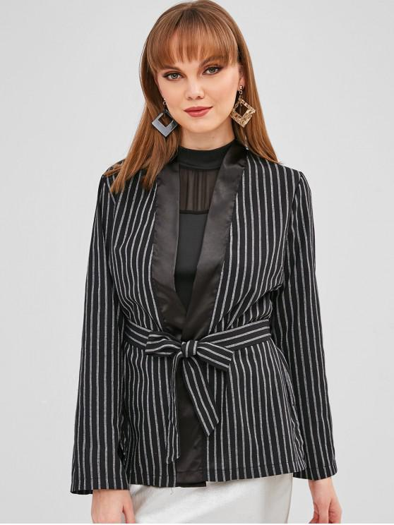 affordable Striped Slit Wrap Blazer - BLACK M
