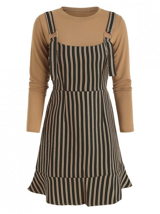 Conjunto de vestido general liso con rayas y rayas - Negro M