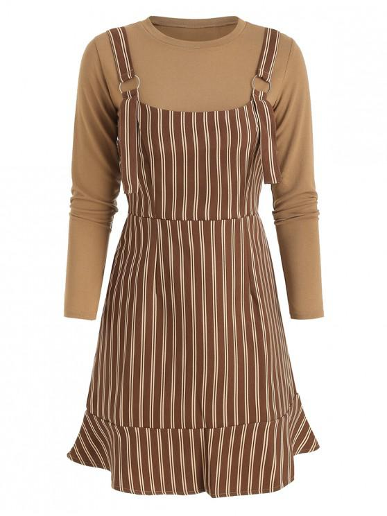 new Plain Tee And Stripes Overall Dress Set - BROWN M