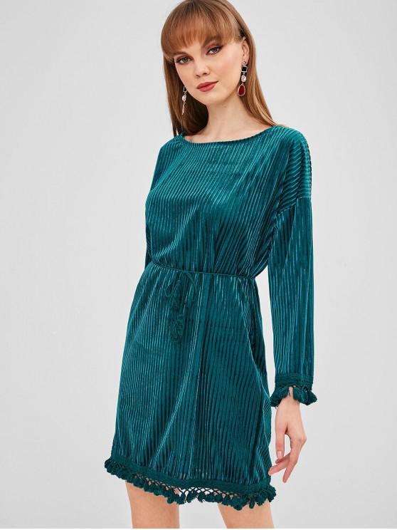 shops Shadow Stripes Tassels Mini Dress - PEACOCK BLUE XL