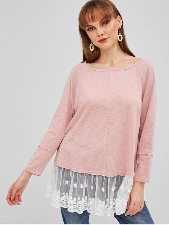 chic Raglan Sleeve Lace Insert Top - PINK XL