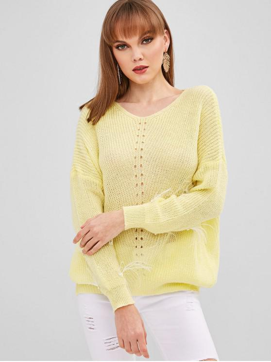 fancy Faux Pearls V Neck Sweater - CORN YELLOW ONE SIZE