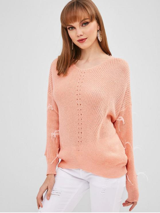 buy Faux Pearls V Neck Sweater - ORANGE PINK ONE SIZE