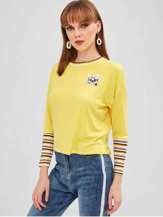 unique Cat Patched Stripes Panel Tee - CORN YELLOW XL