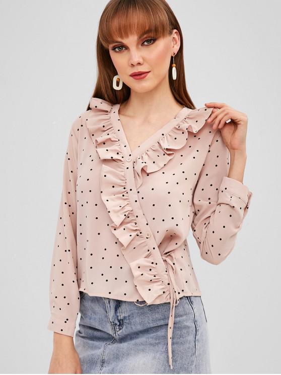 fashion Button Up Dots Ruffles Blouse - LIGHT PINK S