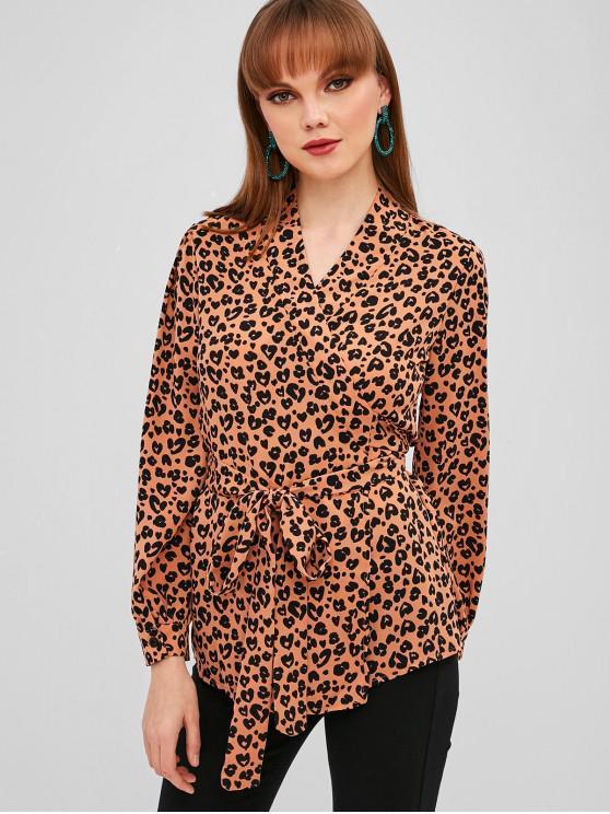 women Leopard Wrap Blouse - LEOPARD M