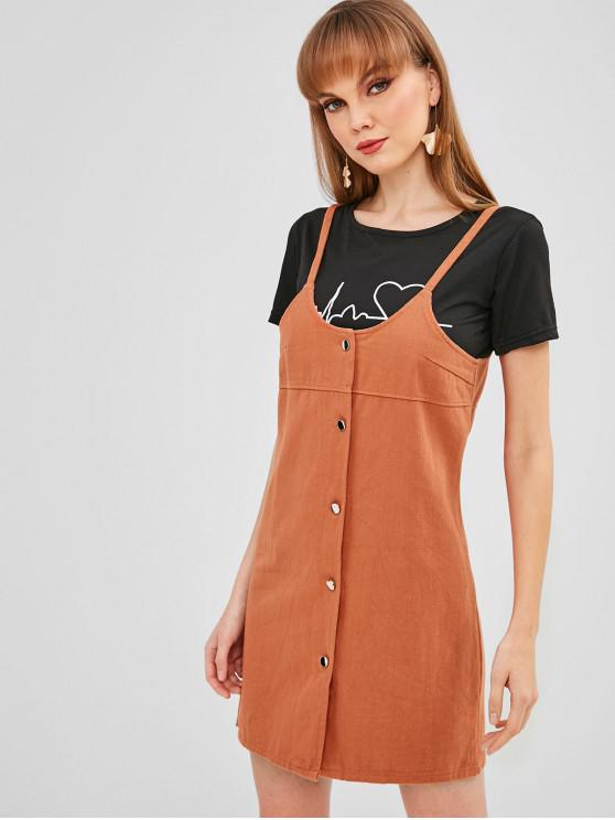5c7eb4f2569e 37% OFF] 2019 Mini Button Up Pinafore Dress In BROWN | ZAFUL