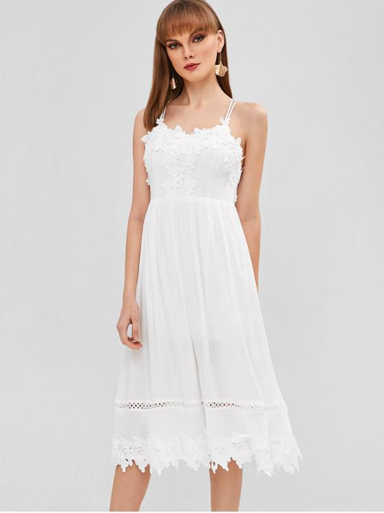 women's Flowers Applique Crisscross Cami Dress - WHITE M