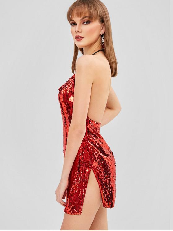 latest Halter Sequined Slit Club Dress - RED L