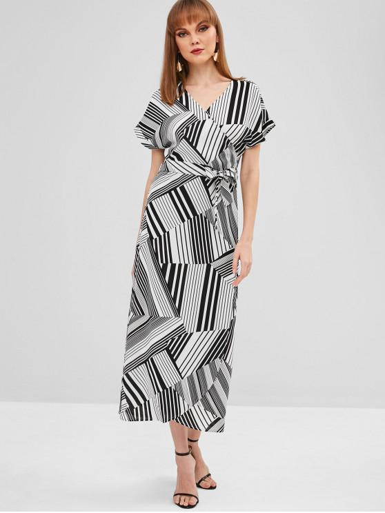 unique Striped Maxi Surplice Dress - WHITE M