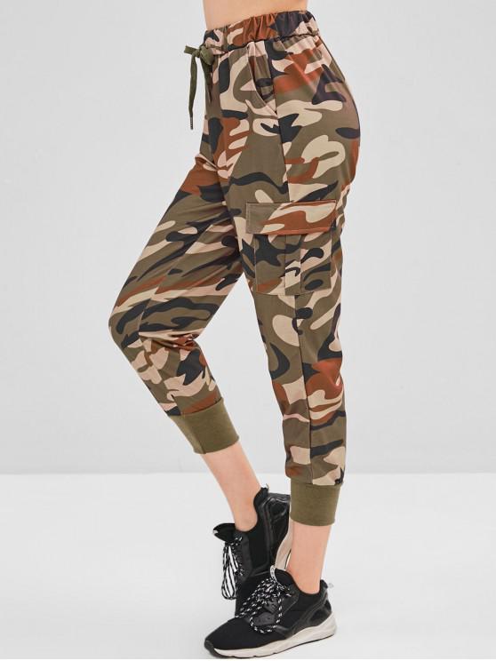 women Camo Drawstring Pocket Pants - ACU CAMOUFLAGE L