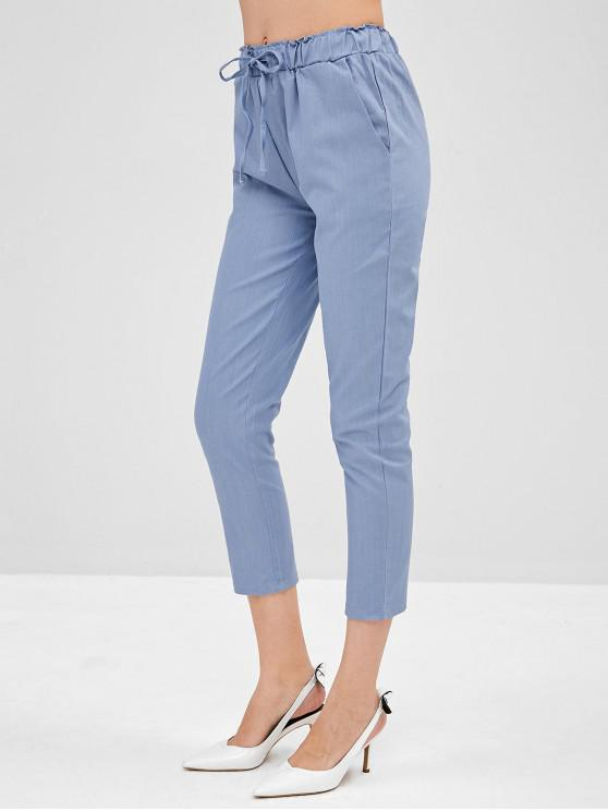 women High Waisted Ninth Straight Pants - BLUE GRAY 2XL