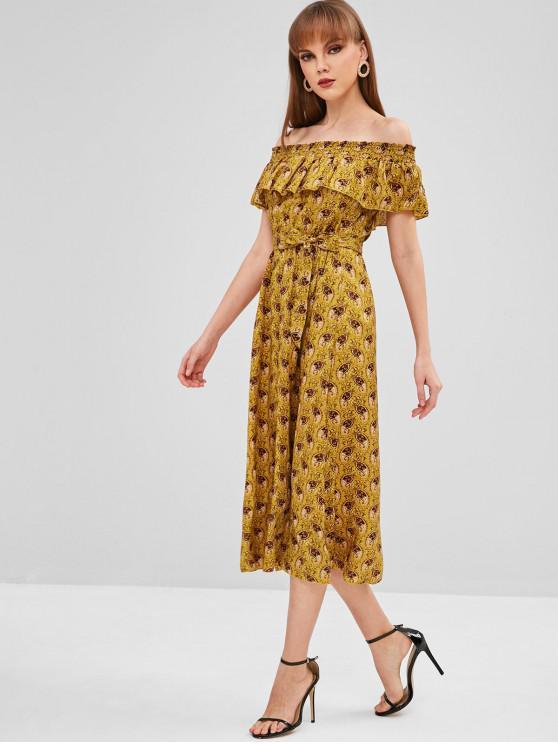 latest Overlay Printed Off Shoulder Dress - ORANGE GOLD M