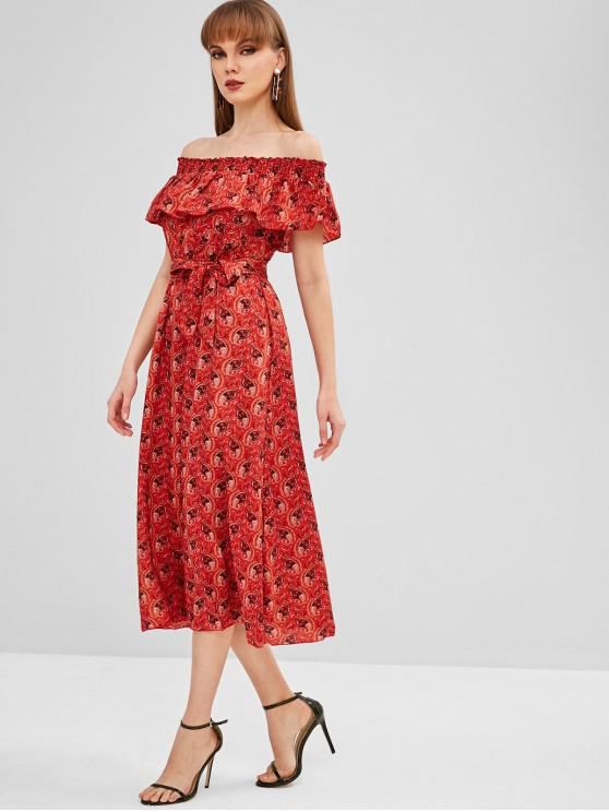 womens Overlay Printed Off Shoulder Dress - CHERRY RED M