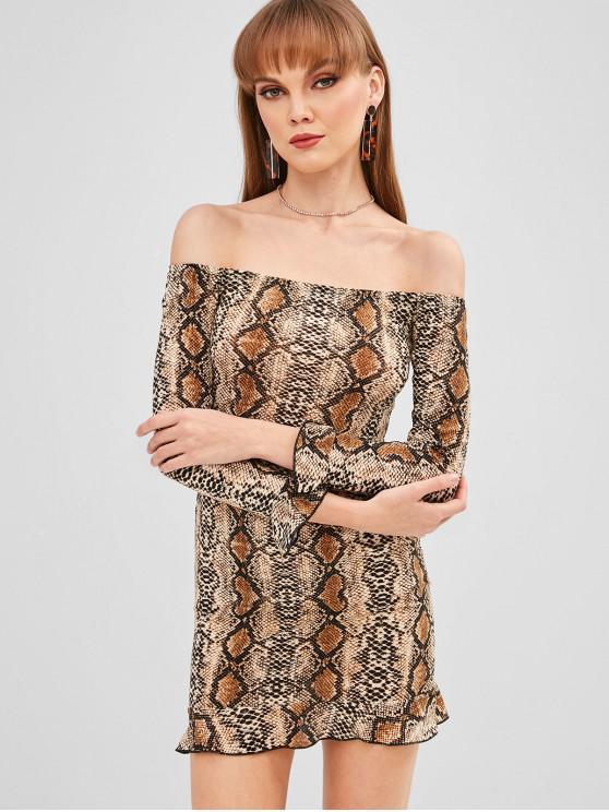 best Off Shoulder Snake Print Bodycon Dress - MULTI XL