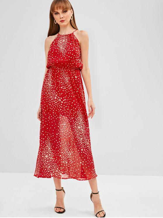affordable Stars Print Maxi Dress - RED L