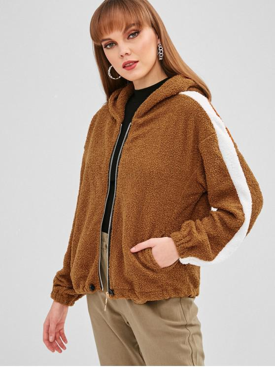 fashion Hooded Zipper Fluffy Teddy Coat - BROWN S